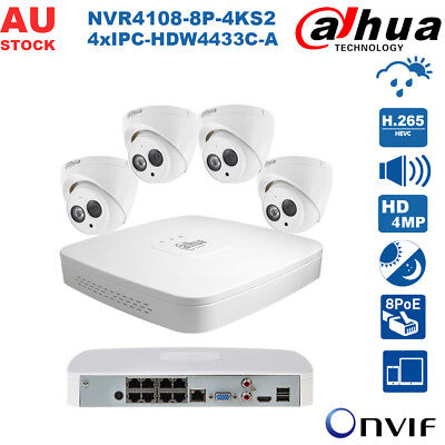 Dahua 8Ch 4Mp Lite Kit Poe Built-In Mic H.265 Ivs App Home Security Cctv System