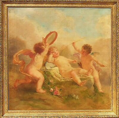 Lemire Original Antique French Oil Painting Romantic Scene Putti Signed