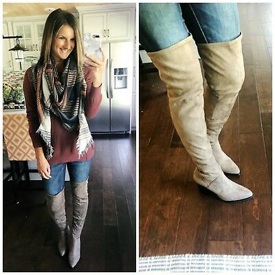 722fc9a0a8d NEW Marc Fisher LTD Arrine Over-the-Knee Boot Grey Suede Women s Sz 6.5