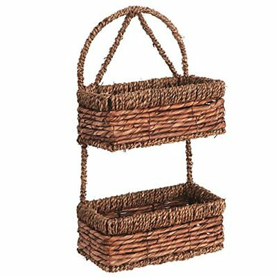 NEW MyGift Hand woven Seagrass 14 Inch Wall Hanging 2 Tier Storage Basket Brown