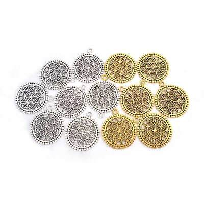 10 x Silver/Gold Tone Flower of Life Circle Charms Pendants for Jewellery Making