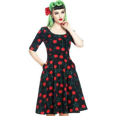 Collectif Amber Rose Retro 50s Dress Rockabilly Pin Up Vintage Floral Swing