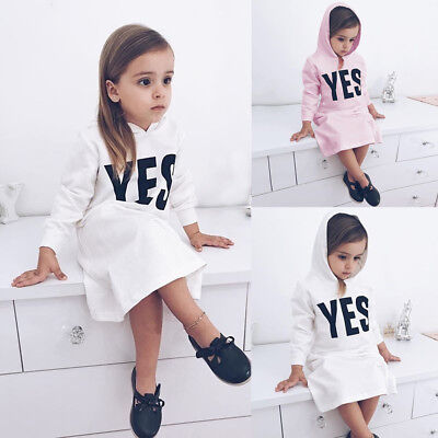 Toddler Kids Baby Girls Winter Hooded Letter Sweatshirts Pullover Dress Clothes