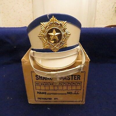 VINTAGE WHITE LEATHER MARCHING BAND SHAKO MASTER BOX LYRE BADGE /& HAT BOX LARGE