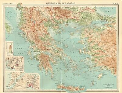 1920 Antique Map- Greece And The Aegean, Athens, Chanak, Constantinople