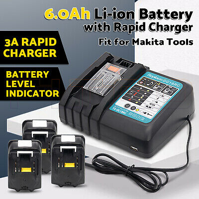For Makita 18V 6.0Ah Li-ion Battery with Rapid Charger DC18RC for BL1850 BL1860