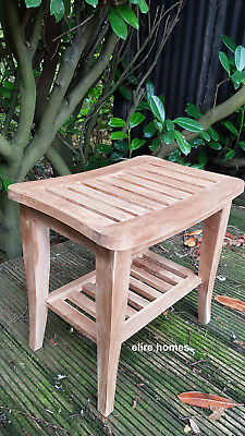 Top Quality TEAK WOOD natural stool for bathroom shower qubicle  50x46x35cm