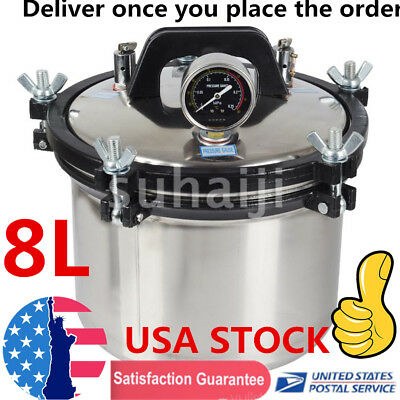 8L Steam Autoclave Sterilizer Dental Pressure Sterilization Dual Heating Pot USA