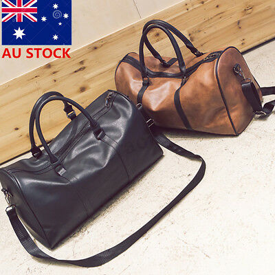 Men Women Large Leather Handbag Holdall Travel Gym Duffle Sports Cabin Bag Tote