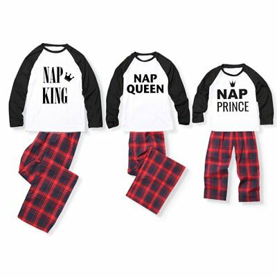Xmas Family Matching Mens Womens Kids Plaid Sleepwear Nightwear Pajamas Set