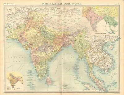 1920 Antique Map- India & Farther India, Political Map