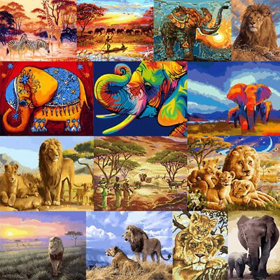 DIY Paint By Number Kit Acrylic Oil Painting Elephant  Lion Art Home Wall Decor
