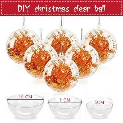 240X Clear Plastic Christmas Balls Baubles Sphere Fillable Xmas Tree Ornament