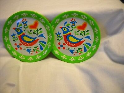 Vintage Ohio Art Bright Green Americana Tin Toy Plates Metal Lithographed