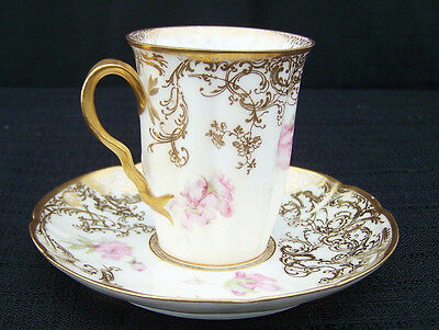 Haviland Limoges Floral w/Gold Accent Demitasse Cup & Saucer