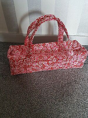 Large Knitting Bag. Fully lined with front Pocket. Pink/Red Floral. Handmade