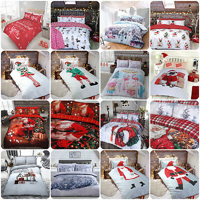 Winter & Christmas Print Duvet Quilt Cover Bedding Set & Pillowcases All Sizes