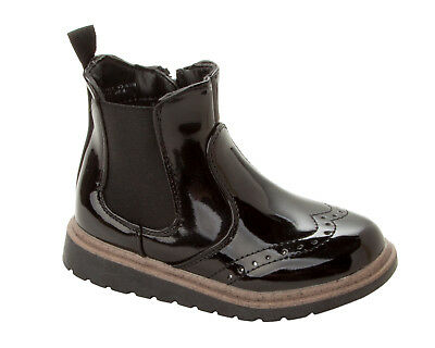 Girls Black Patent Chelsea Gusset Zipper Low Heel Ankle Boots Shoes Uk Size 8-2