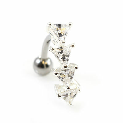 14g Reverse Belly Ring with Prong Setting Triangle Cubic Zirconia Gems