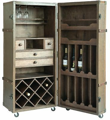 New Vintiquewise Vintage Crocodile Leather Wine Bar Cabinet with Lockable Latch
