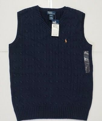 Nwt Ralph Lauren Boys  Sweater Vest Navy L(16/18) #73