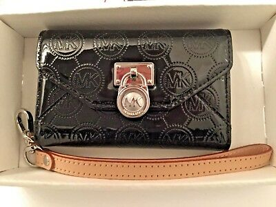 b52b54bc2eaa Michael Kors Jet Set Black Patent Leather Iphone 4S 4 3Gs Wallet Clutch New