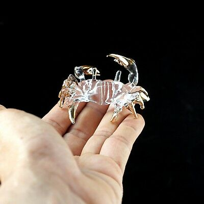 TINY CRYSTAL CRAB Hand Blown CLEAR GLASS ART Figurine Miniature Collectibles #1
