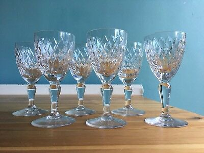 6 Royal Brierley Cut Lead Crystal COVENTRY Pattern Sherry Wine Glasses 4 3/4