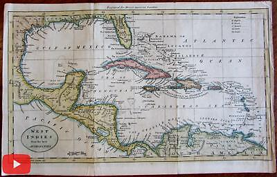 West indies Caribbean 1797 engraved map Morse Hill Wheat & Brun #699