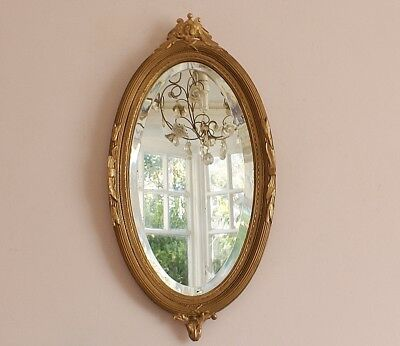 Small Antique Edwardian Giltwood/ Composition Oval Bevel Edged Wall Mirror