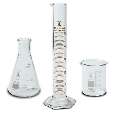 100ml Beaker, 150ml Flask,& 50ml Cylinder Set, 3.3 Boro. Glass - KS