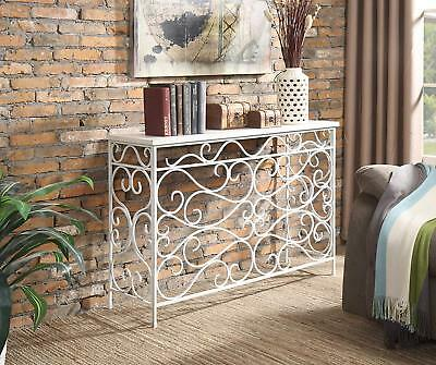 """Tuscan Old World Ivory Iron Scrolled Wood Top Console/Sofa Table NIB 48"""""""