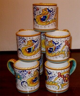 DERUTA  POTTERY RAFFAELLESCO pattern MUGS 8 PCS  FREE EXPRESS SHIPPING