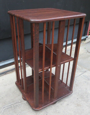 All Wood Square Revolving Rotating Bookcase Bookshelf Cabinet Side Table