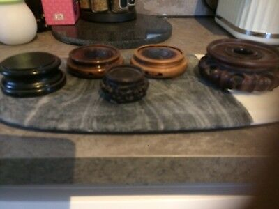 5 Antique Wood Chinese Vase Stands