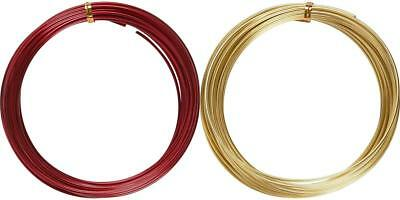 Soft Bonzai Aluminium Metal Wire Round Red Gold Christmas Decorations Crafts 10m