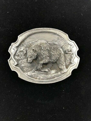 Vintage Siskiyou 1984 Grizzly Bear Belt Buckle Pewter