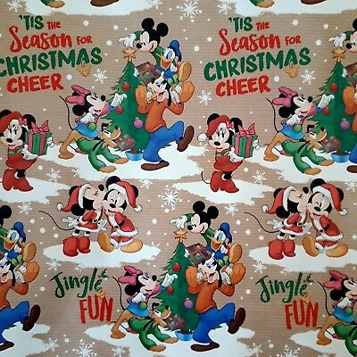 Mickey Mouse Christmas Wrapping Paper  Minnie Mouse Donald Duck 2 sheets 2 tags