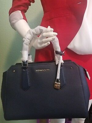 f811b3cf3b3c Nwt Michael Kors Pebbled Leather Hayes Large Satchel Bag In Navy Nwt 398