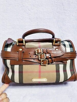 9301d1946b36 Burberry Bridle House Check Alchester Dark Tan Leather Bowling Satchel Hand  Bag