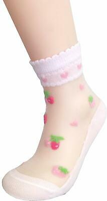 Searchself Little Girls' Cotton Lace Transparent Thin Cotton Socks (Pack of 5)