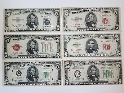 $5 Lot~ 1953 Silver Certificate ~ 1953 1928 1963 Red Seal ~ 1950 1934 Green Seal