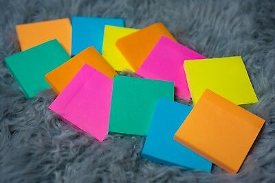 """12 pack Quality Sticky Notes 3"""" x 3""""  6 Bright Assorted Colors 100 sheets/pad"""