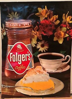 Original Folgers Instant Coffee Glass Container Salesmans Poster Display Vintage