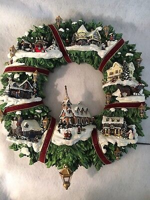 Thomas Kinkade Christmas Village Wreath By Hamilton Illuminated