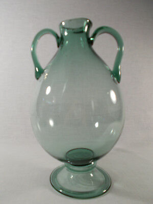 Hand Blown Green Glass Vase With Handles