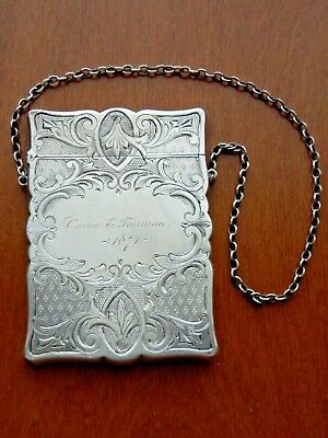 Antique 1874 Victorian Ornate Hand Chased Sterling Silver Card Case Chain Purse