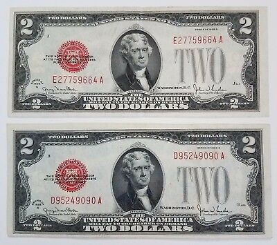 Lot of 2 ~ 1928-G $2 Two Dollar Red Seal US Notes ~ VF+