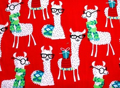 Christmas Fleece.New Bty Christmas White Llamas With Glasses On Red Fleece Fabric 1 Yd 60x36