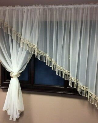 Beautiful Cream Voile Net Curtain with Lace (Guipure )